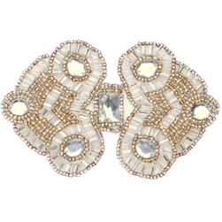 Beaded Double Diamond Applique Silver