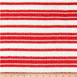 Stretch Open Weave Sweater Knit Stripes White/Red