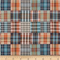 Designed Yarn Dyed Double Cloth Shirting Plaid Blue/Orange