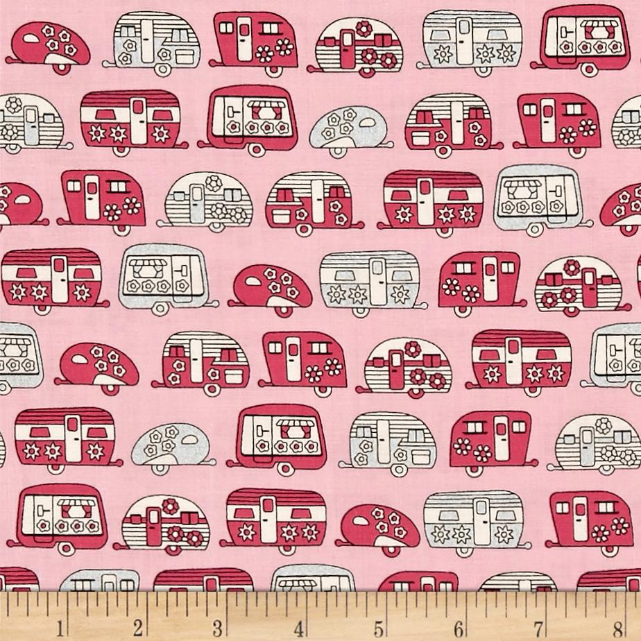 Kaufman On The Road Metallic Frilly Campers Pink