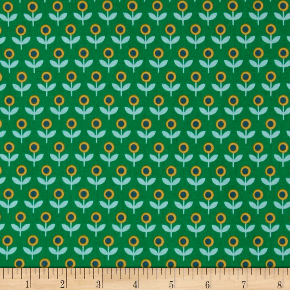 Joel Dewberry Modernist Voile Tulip March Emerald Fabric by Westminster in USA
