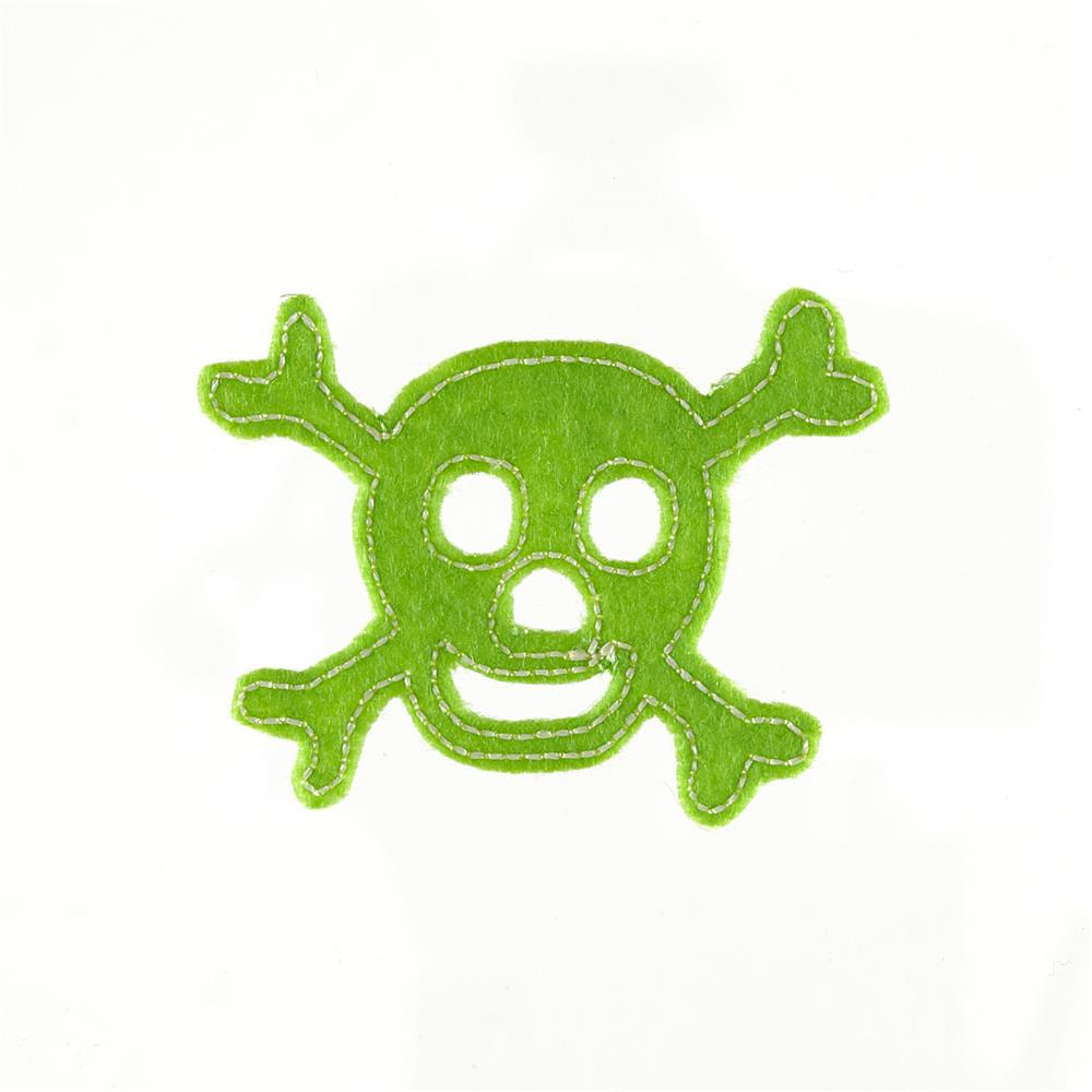 Skull with Felt Applique Lime