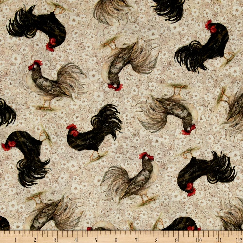 Mia Country Flock Digital Print Rooster Toss Beige