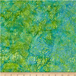 Island Batik London Fog Leaf Vein Lime/Aqua