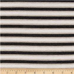 Designer Stretch Rayon Jersey Knit Stripes Charcoal/Beige Fabric