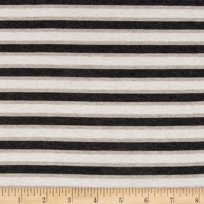 Designer Stretch Rayon Jersey Knit Stripes Charcoal/Beige