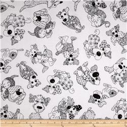 Loralie Designs Happy Dogs Doodle Dogs White/Black