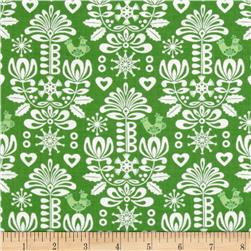 Moda Folk Art Holiday Damask Pine Fabric