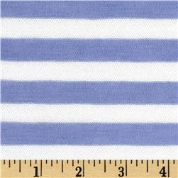 Designer Yarn Dyed Jersey Knit Stripes Periwinkle/White