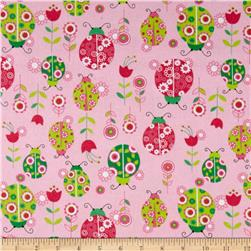 Lollipops Flannel Ladybugs Pink