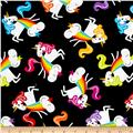 Timeless Treasures Rainbow Madness Barfing Unicorns Black