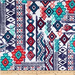 Cotton Spandex Jersey Knit Geometric Tribal Purple/Green/Ivory/Red