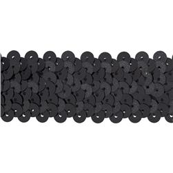"1 1/4"" Metallic Stretch Sequin Trim Gunmetal"