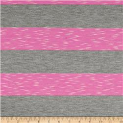 Yarn-Dyed Jersey Stripe Knit Grey/Hot Pink