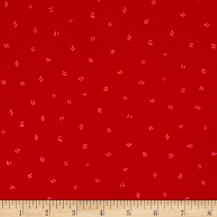 Susybee Bird Footprints Red Fabric by Susybee in USA