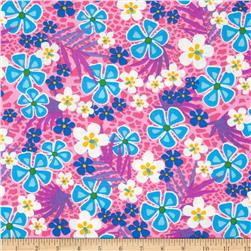 Beach Party Floral Bright Pink Fabric