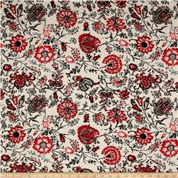 Rayon Challis Floral Cream/Coral