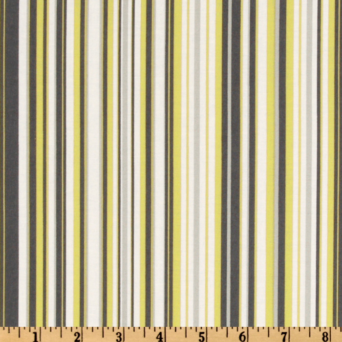 Michael Miller Citron Gray Play Stripe Citron Fabric