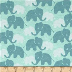 Flannel Elephants Tone on Tone Mint