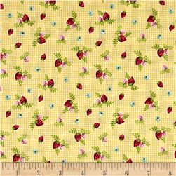 Riley Blake Vintage Market Strawberries Yellow
