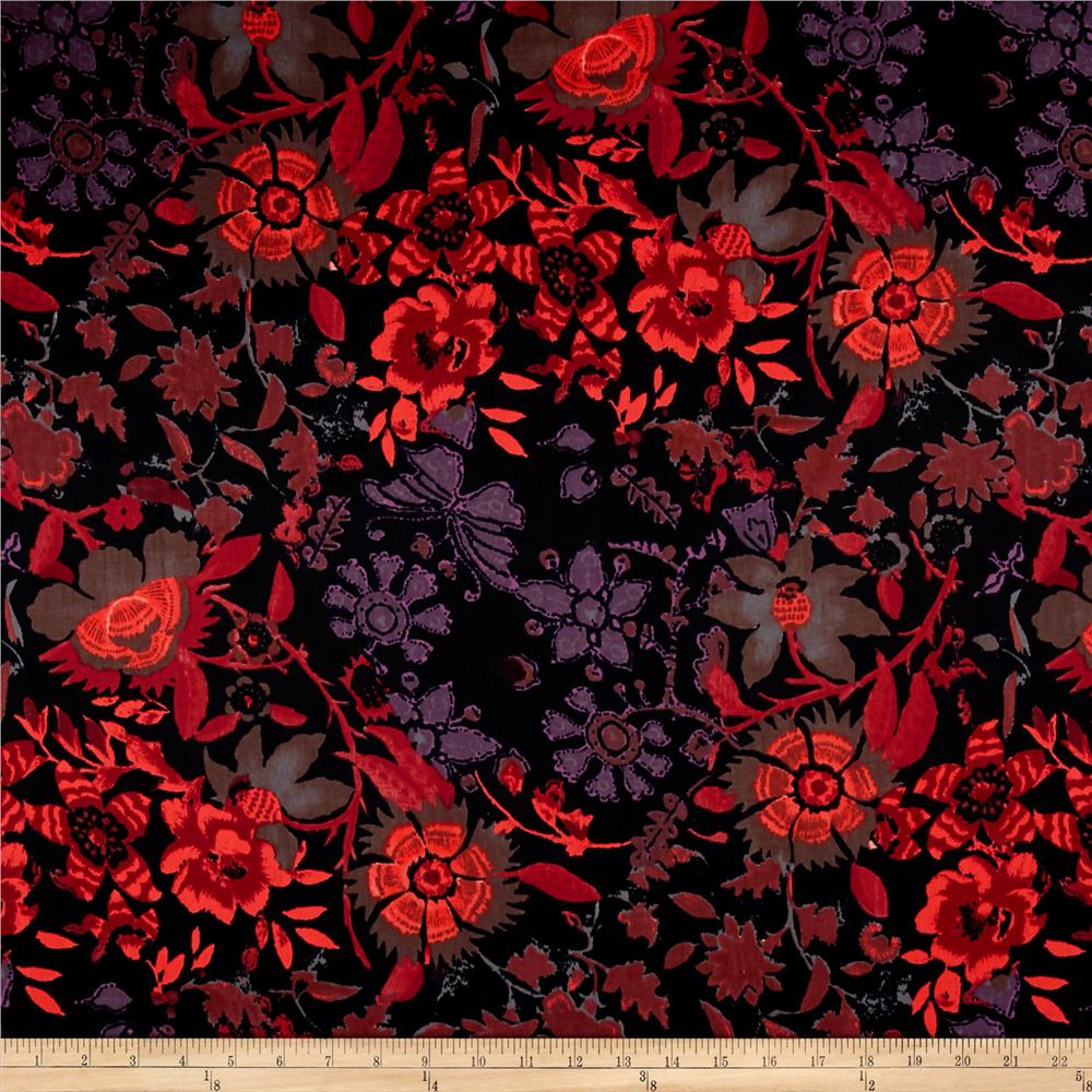 French Designer Cotton Twill Shirting Butterfly Floral Black/Purple/Coral Fabric