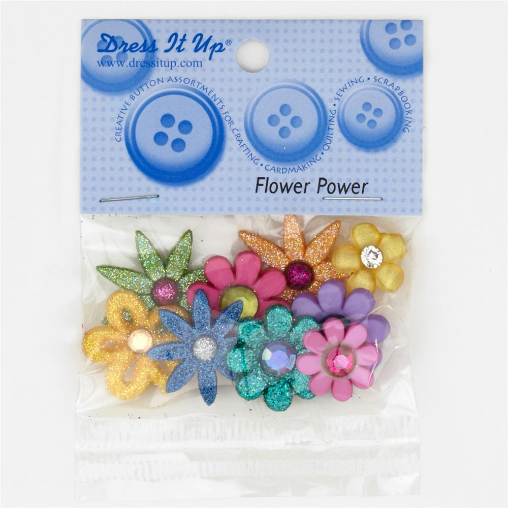 Dress It Up Embellisment Buttons Flower Power