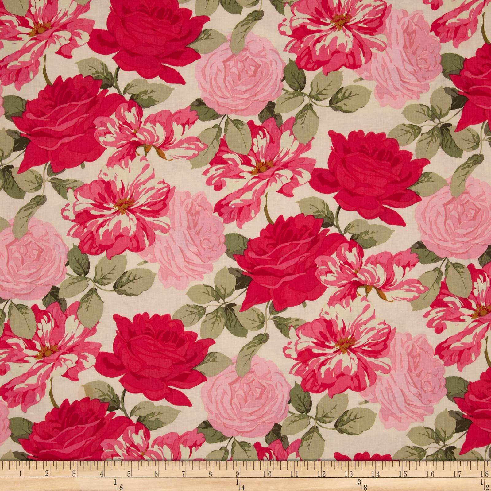 Rose Garden Stripped Rose Bright Fabric
