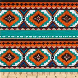 Stretch Jersey Knit Aztec Stripe Orange/Teal