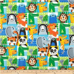 Comfy Flannel Jungle Animal Patchwork Multi Fabric