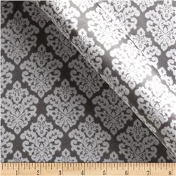 Charmeuse Satin Classic Damask Charcoal/White