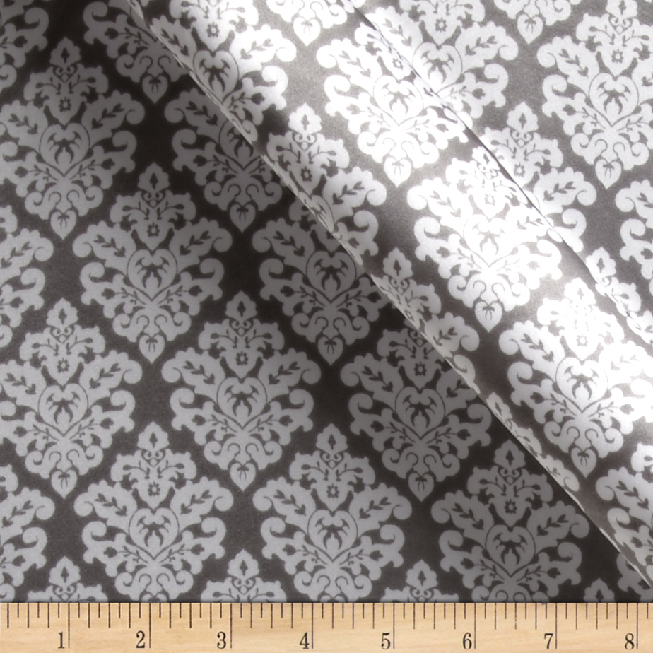 Charmeuse Satin Classic Damask Charcoal/White Fabric