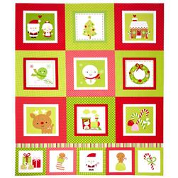 Riley Blake Santa Express 24 In. Santa Panel Green