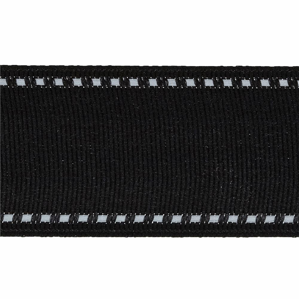 "1 1/2"" Grosgrain Stitched Edge Ribbon Black/White"
