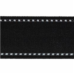 1 1/2'' Grosgrain Stitched Edge Ribbon Black/White