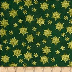 Holiday Traditions Metallic Snowflakes Green