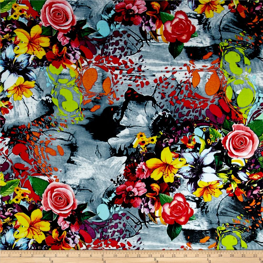 Rayon Challis Digital Abstract Floral Prints Yellow/Black/Red/Green