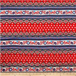 Rayon Challis Stripe Borders Red/Blue