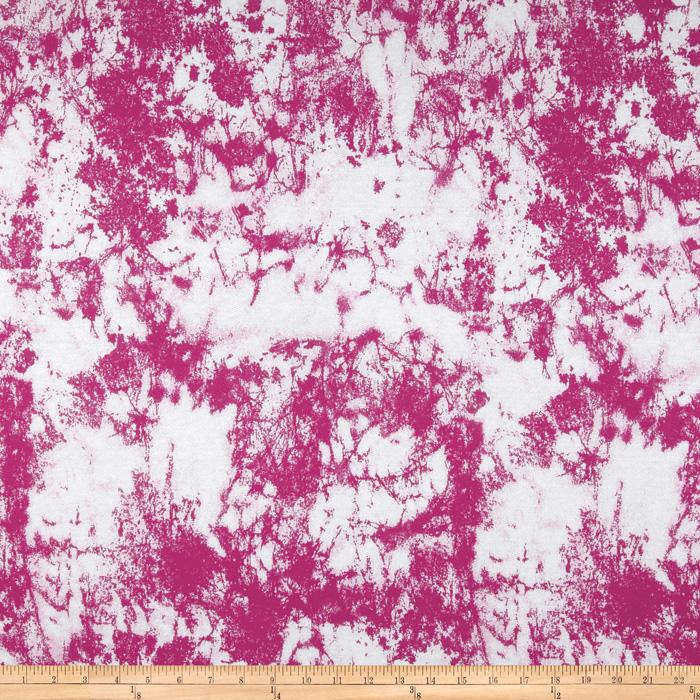 Cotton French Terry Knit Scatter Magenta/White