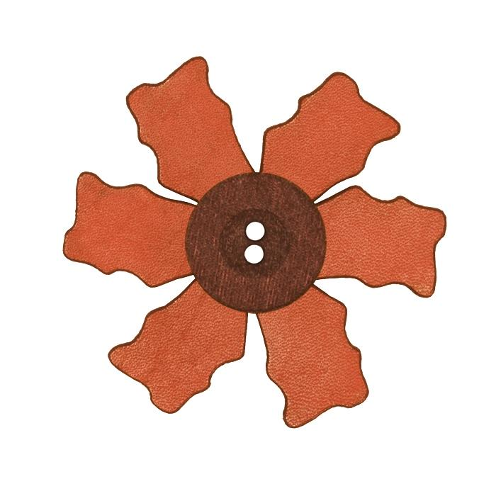 2.25'' Leather Button Flower Pink