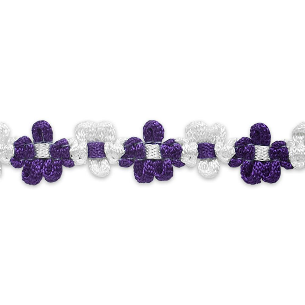 "5/8"" Amy Woven Flower Trim Purple"