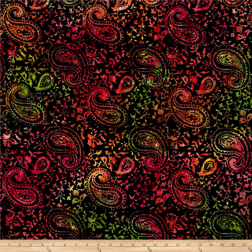 Timeless Treasures Batik Tonga Neon Ethnic Paisley Black