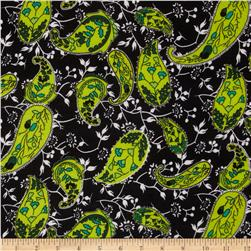 ITY Jersey Knit Paisley Black/Lime