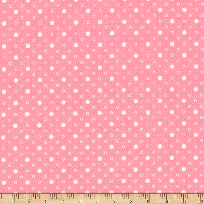 1930s House Dresses Kaufman Naptime Dots Camellia  Fabric $10.00 AT vintagedancer.com