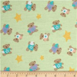 Newcastle Flannel Star Bears Mint Fabric