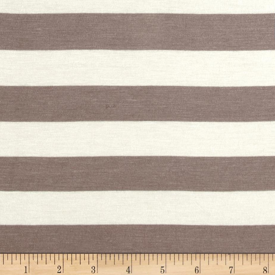 Stretch Rayon Jersey Knit Large Stripe Dark Taupe/Off White