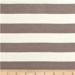 Stretch Rayon Jersey Knit Large Stripe Dark Taupe/Off