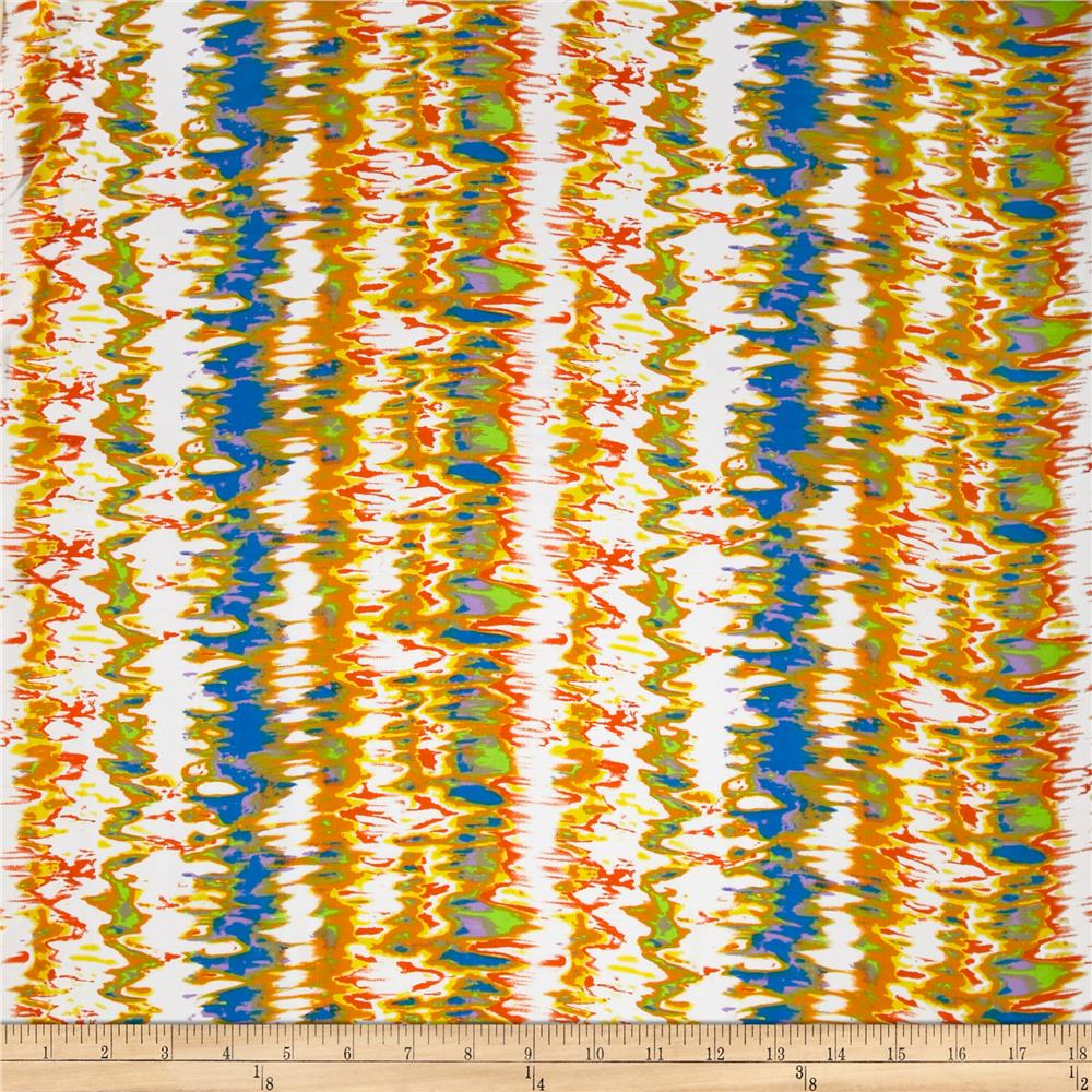 Designer Rayon Challis Blurred Lines Yellow/Blue