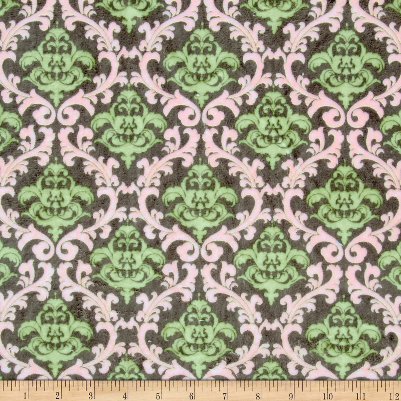 Minky Cuddle Romance Vine Damask Charcoal Fabric