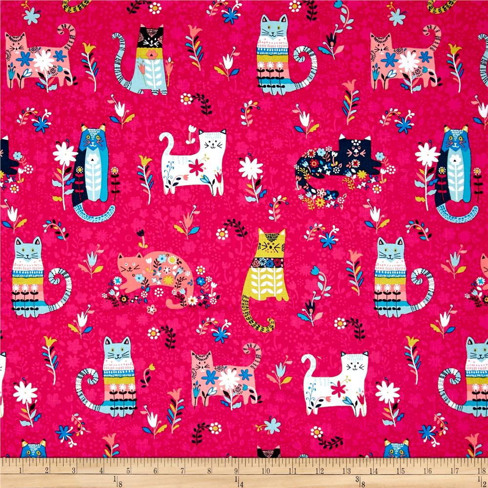 Curious Cats Scenic Pink Discount Designer Fabric