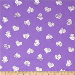 Sparkle Crepe Chiffon Hearts Purple